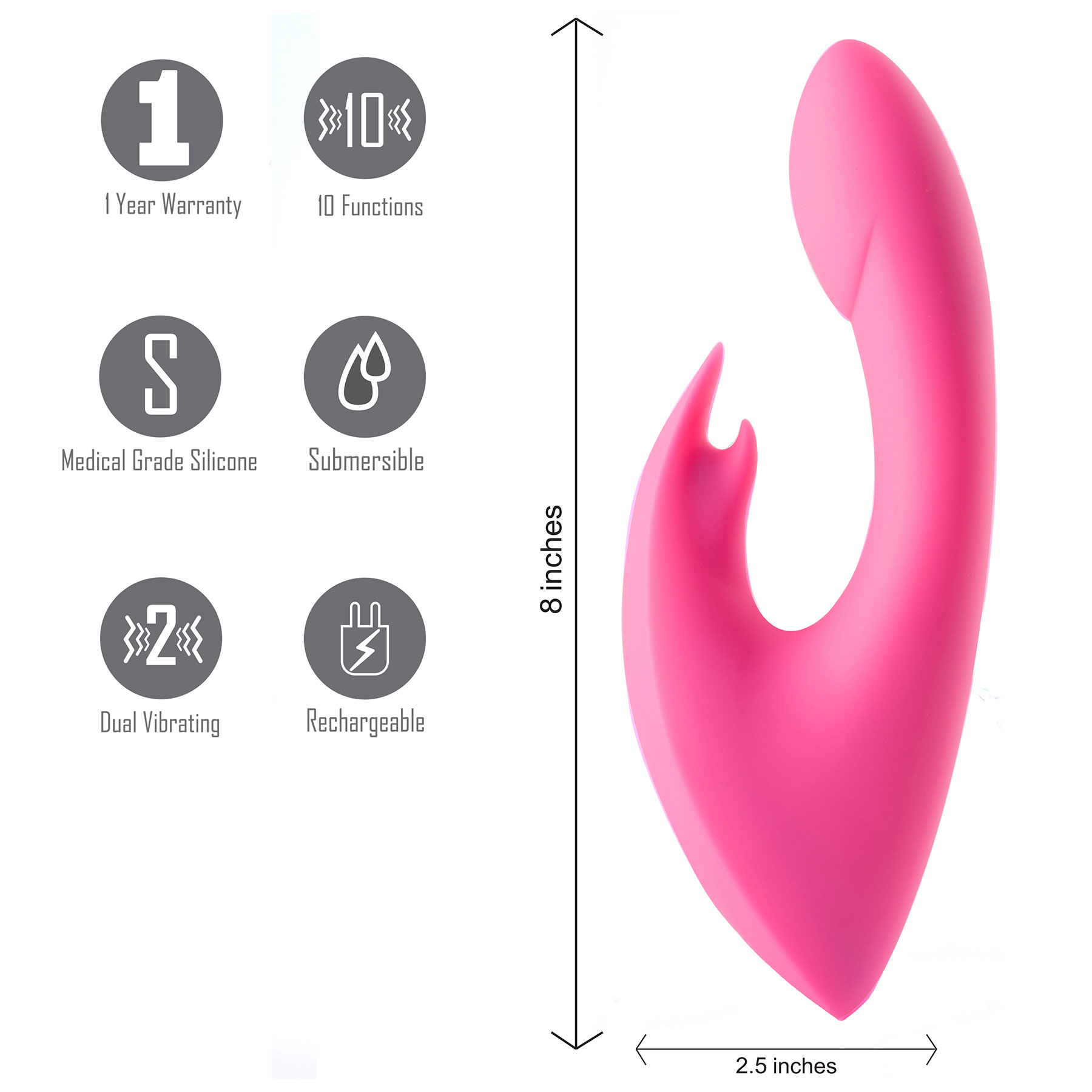 Maia LEAH Rechargeable Waterproof Silicone 10-Function Rabbit Vibrator - Details