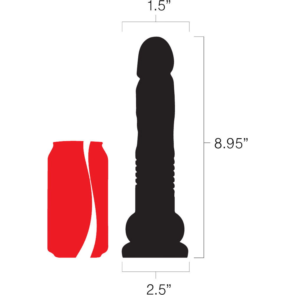 The Velvet Thruster Mini Teddy Ultra Powerful Thrusting Silicone Dildo - Measurements