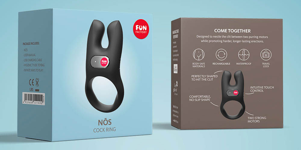 Fun Factory NŌS Rechargeable Waterproof Vibrating Silicone Cock Ring - Packaging