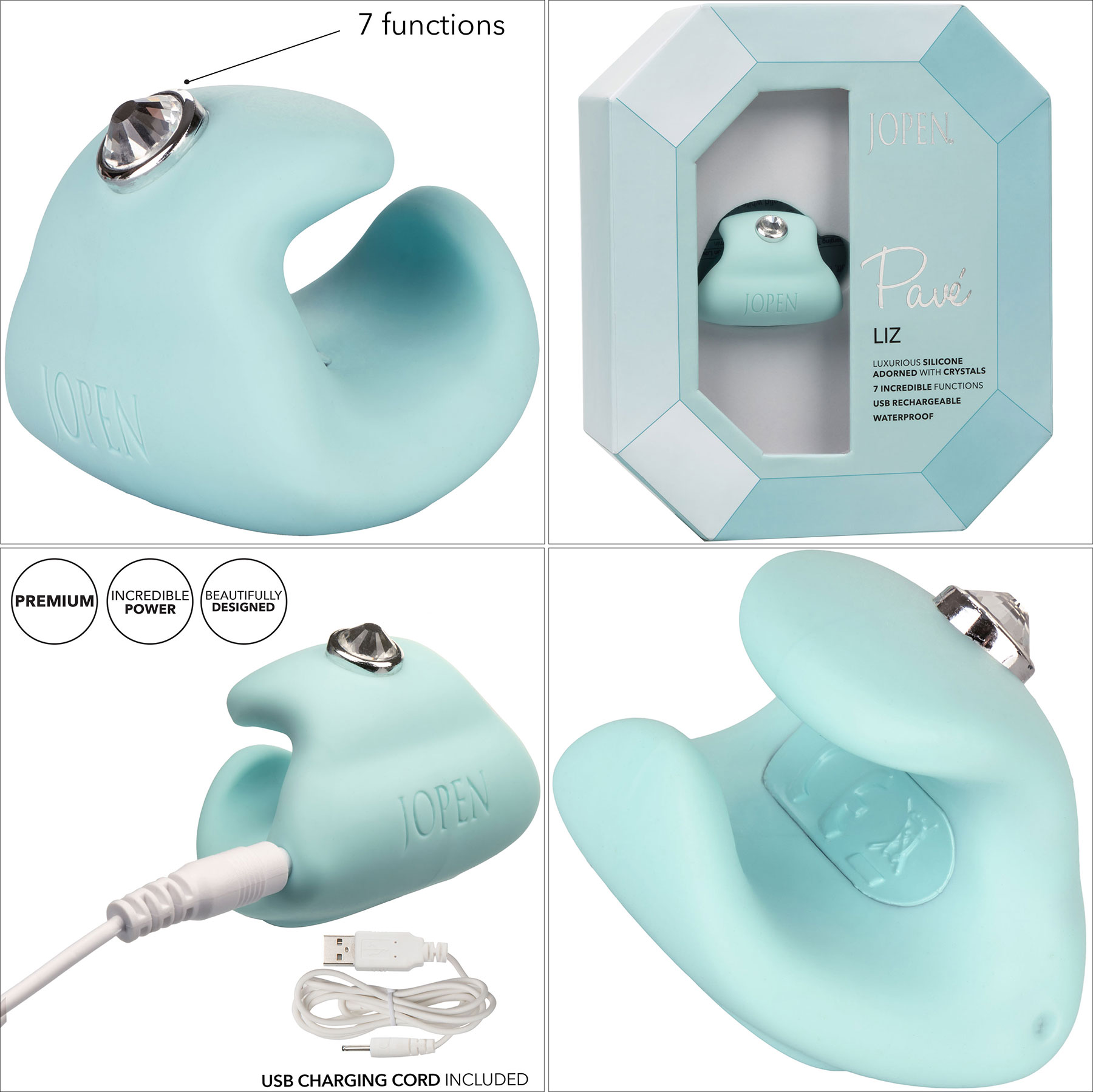 Pave Liz Rechargeable Waterproof Silicone Finger Vibrator - Features