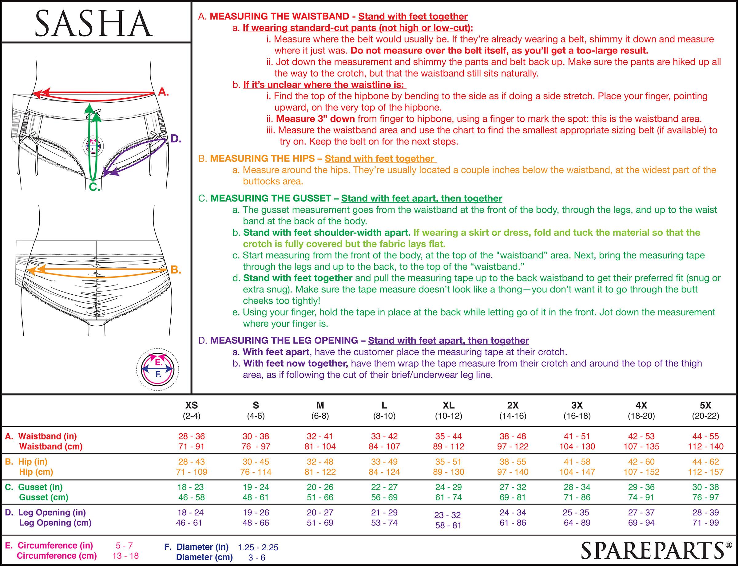 Sasha Harness Size Chart