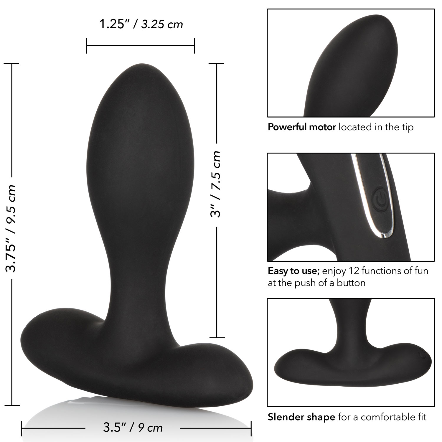 Eclipse Slender Probe Silicone Vibrating Anal Probe - Measurements