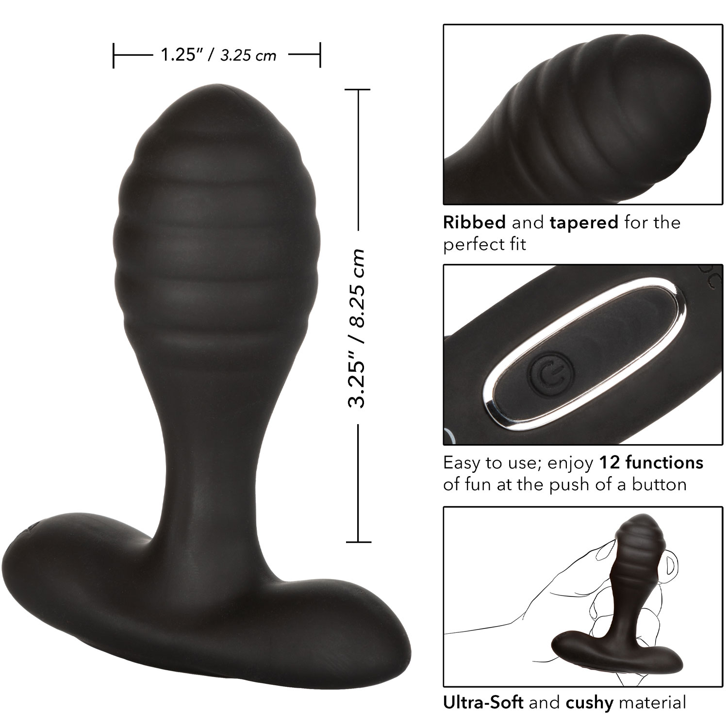 Eclipse Ultra-Soft Silicone Vibrating Anal Probe - Measurements