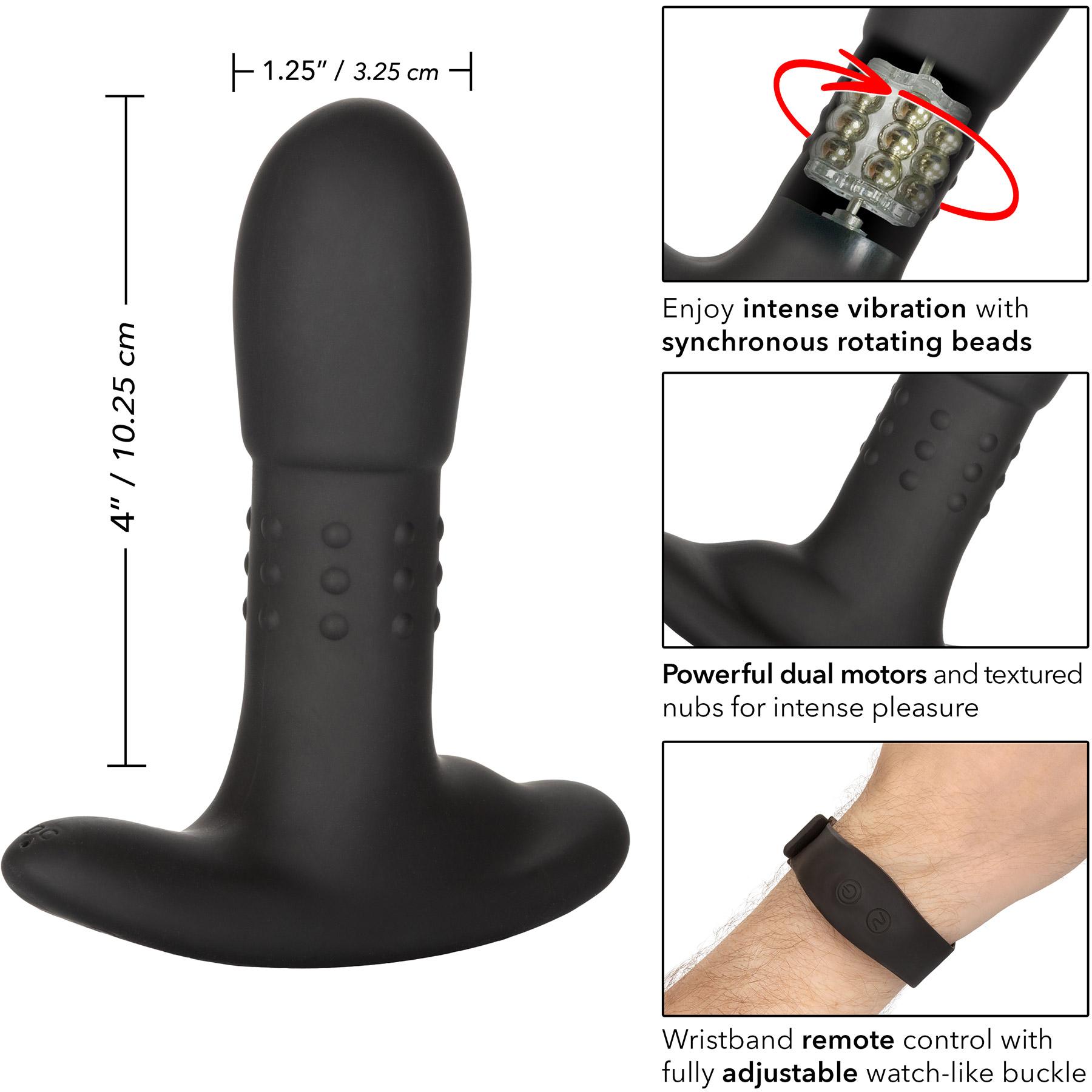 Eclipse Wristband Remote Beaded Probe Silicone Vibrating Anal Probe - Measurements