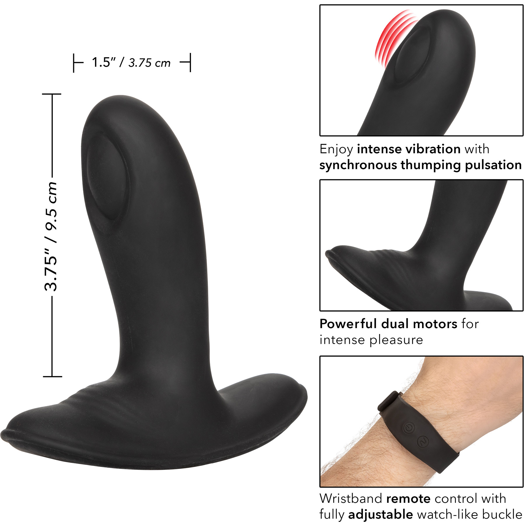 Eclipse Wristband Remote Pulsing Probe Silicone Vibrating Anal Probe - Measurements