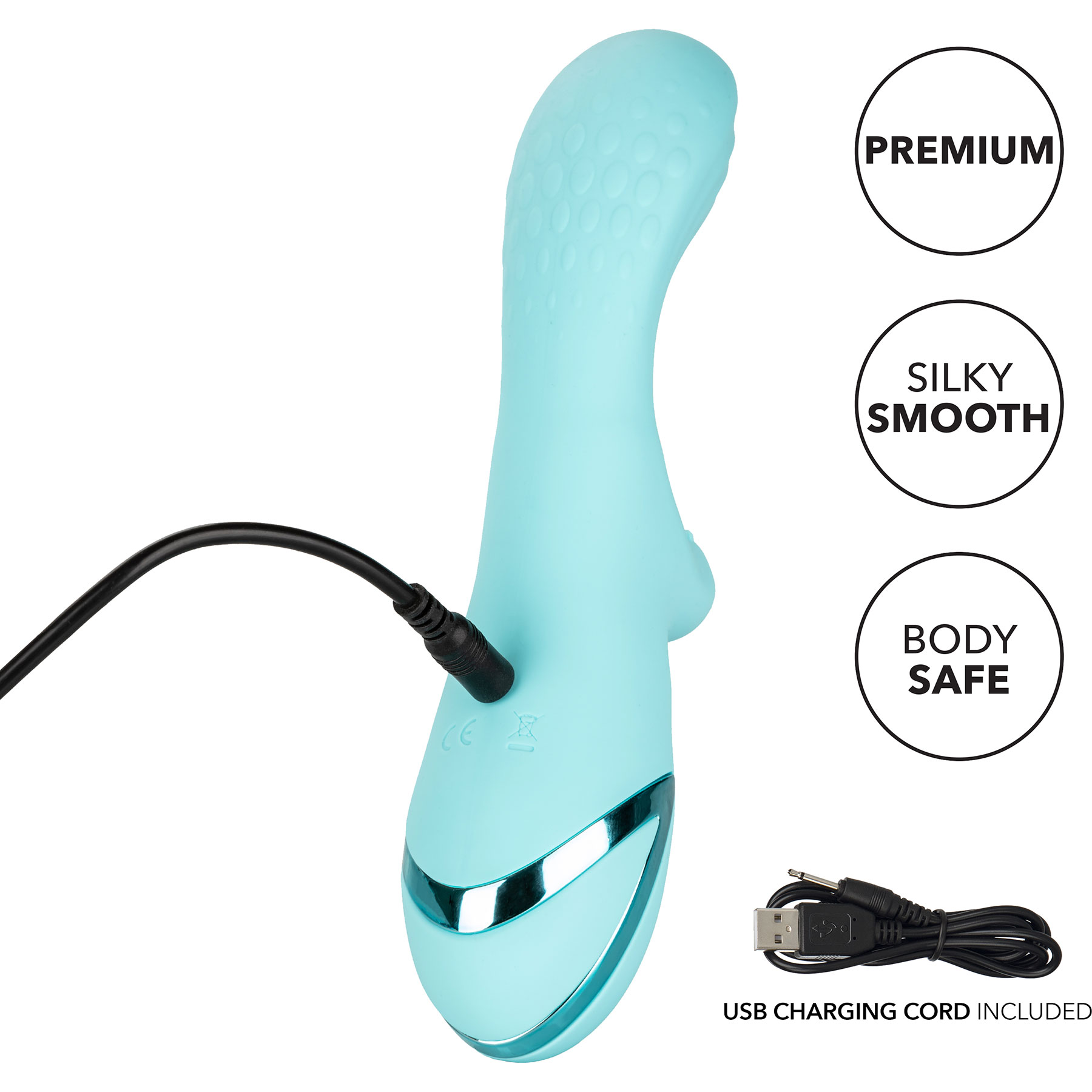 California Dreaming Catalina Climaxer Rabbit Style Silicone Vibrator - Charging