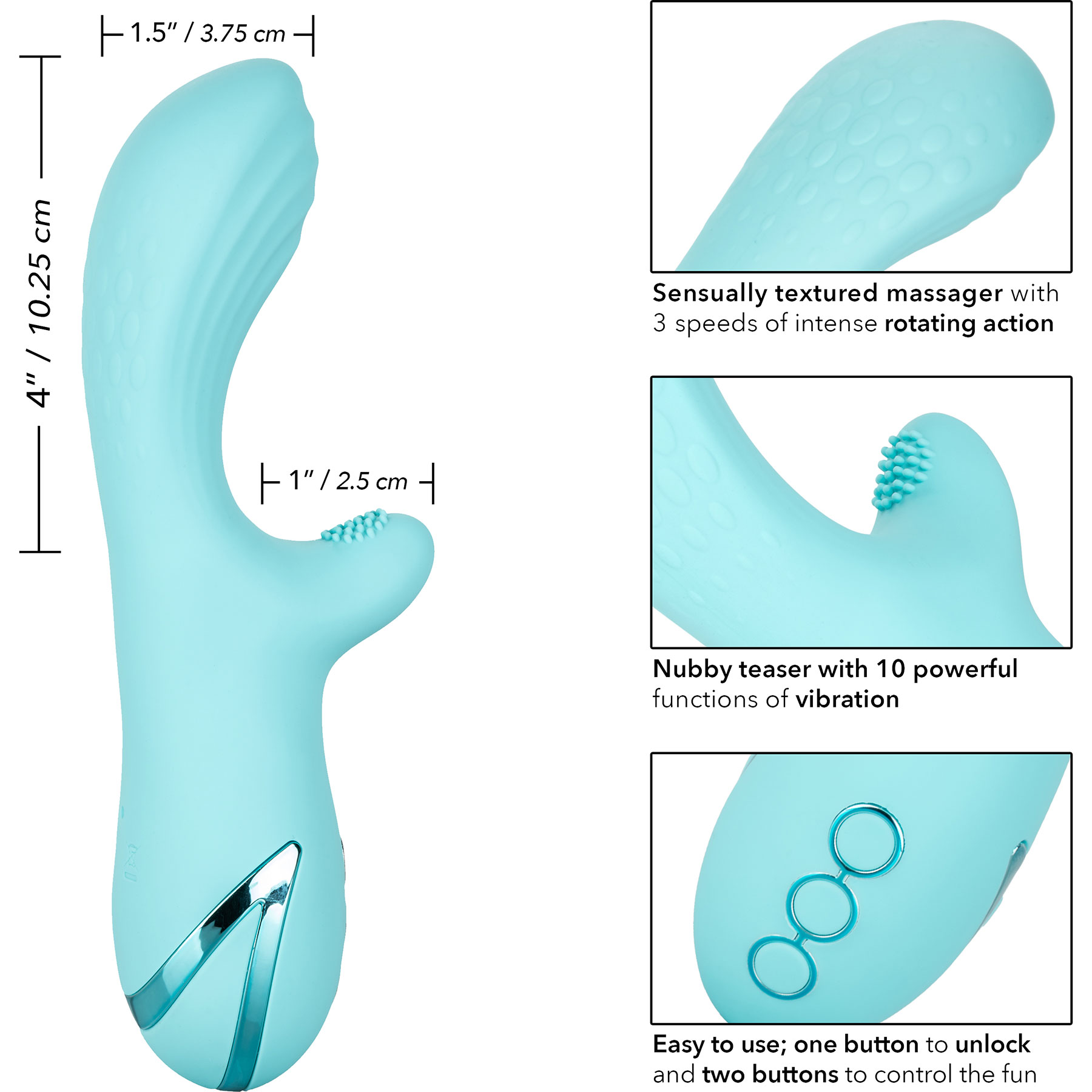 California Dreaming Catalina Climaxer Rabbit Style Silicone Vibrator - Measurements