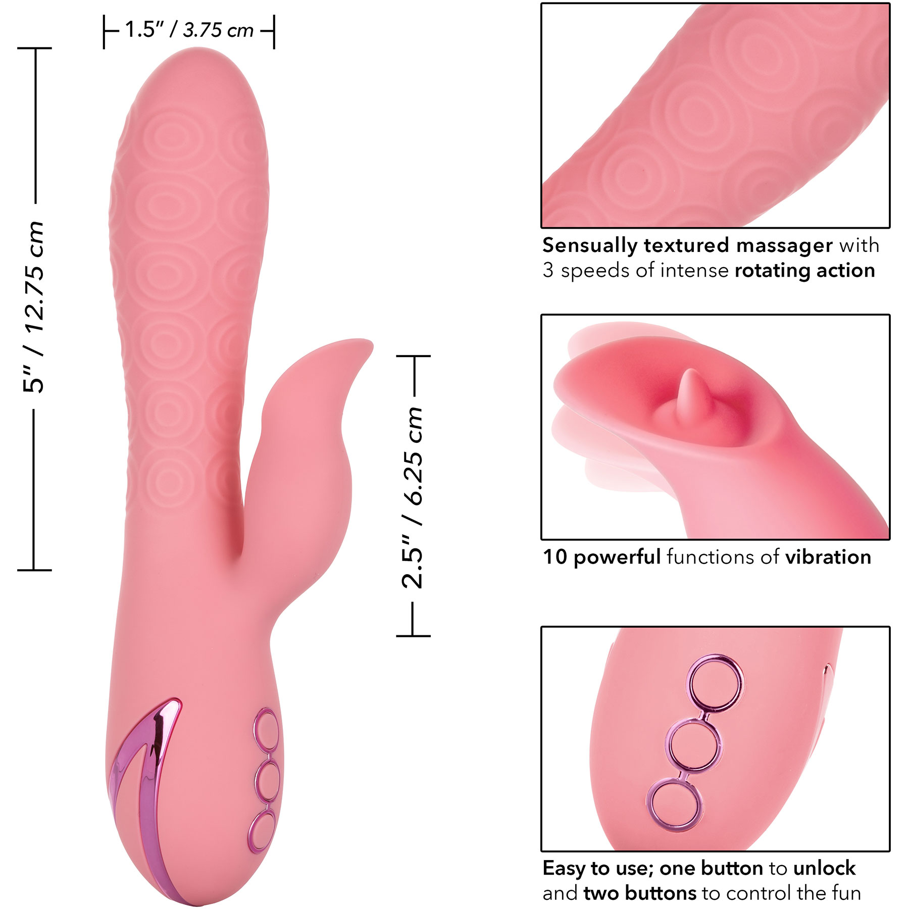 California Dreaming Pasadena Player Rabbit Style Silicone Vibrator - Measurements