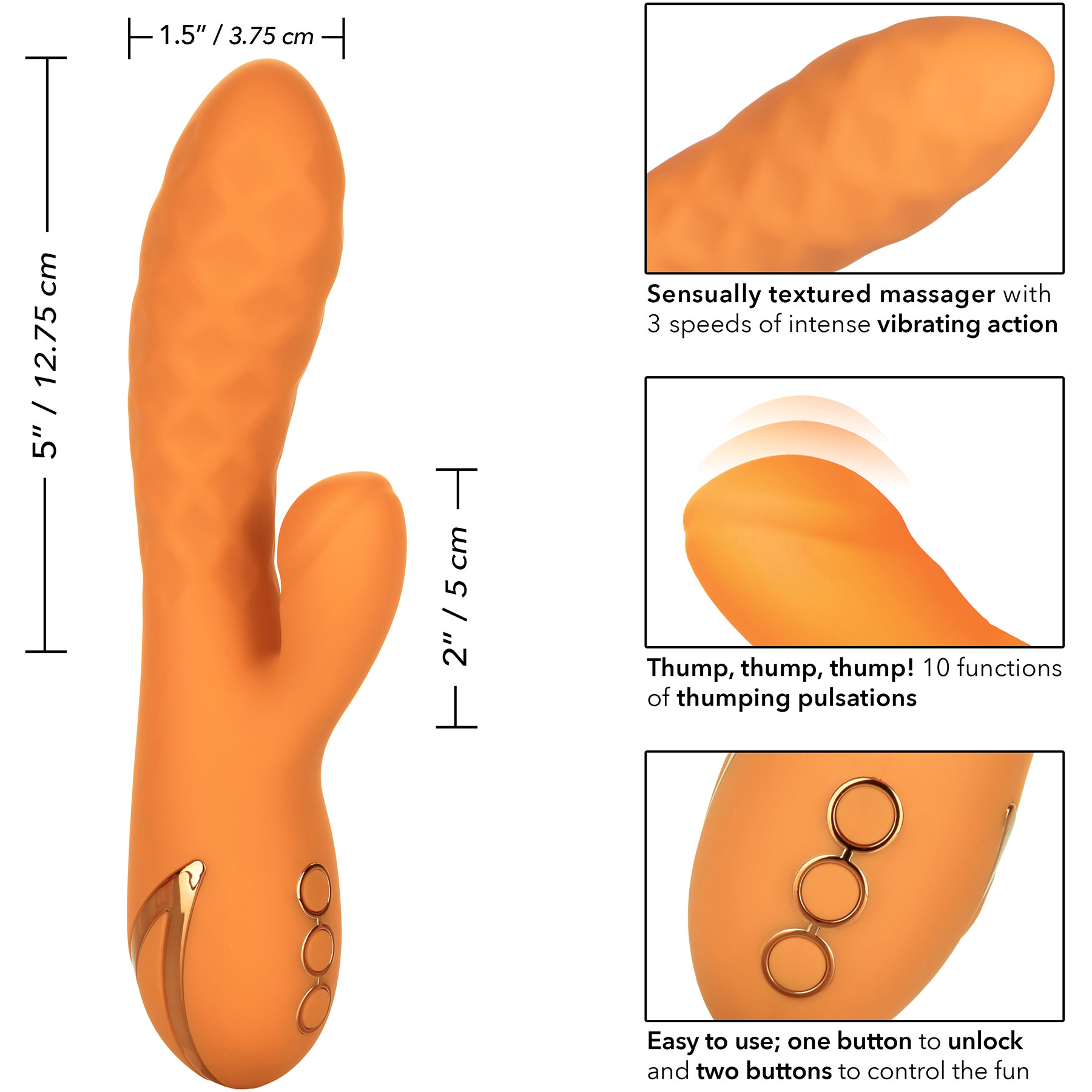 California Dreaming Newport Beach Babe Rabbit Style Silicone Vibrator - Measurements