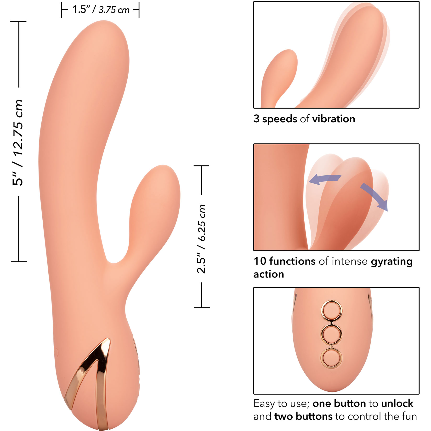 California Dreaming Monterey Magic Rabbit Style Silicone Vibrator - Measurements