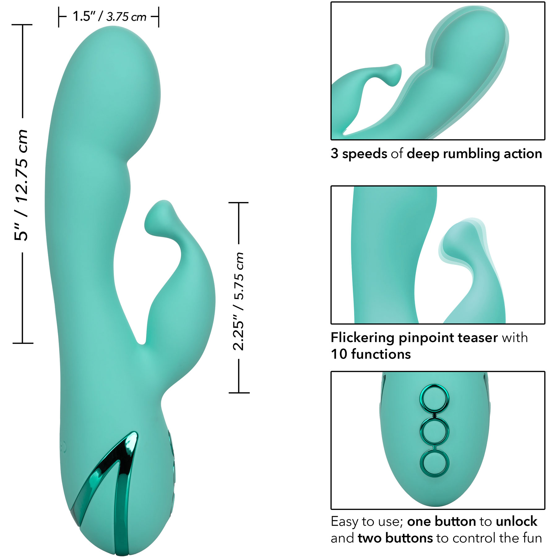 California Dreaming Tahoe Temptation Rabbit Style Silicone Vibrator - Measurements
