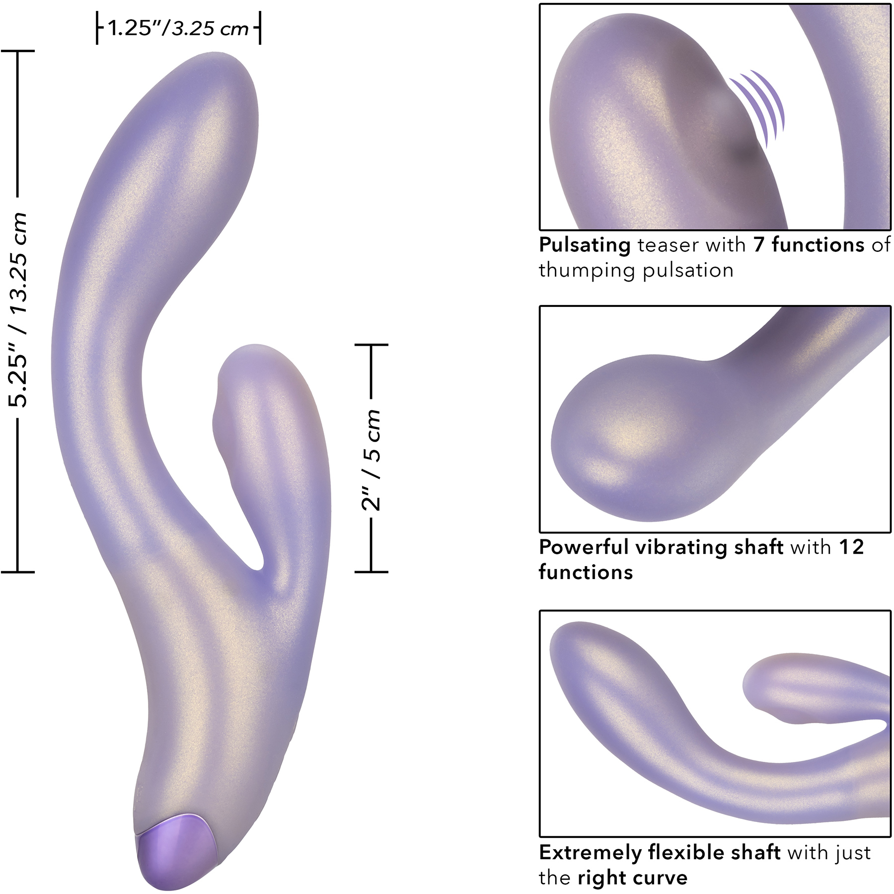 G-Love G-Thumper Silicone Rechargeable Waterproof Dual Stimulation Vibrator By CalExotics - Measurements