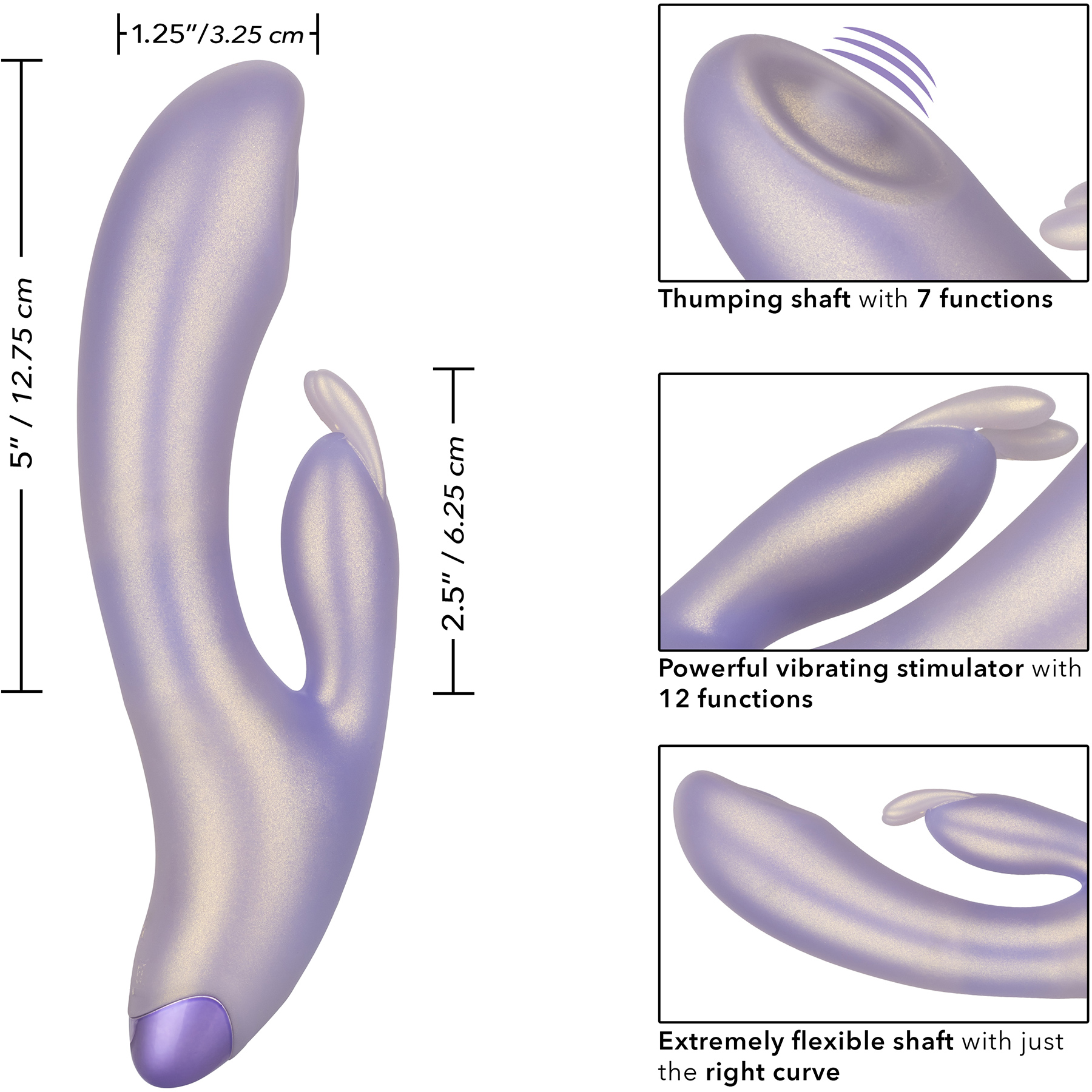 G-Love G-Bunny Silicone Rechargeable Waterproof Dual Stimulation Vibrator By CalExotics - Measurements