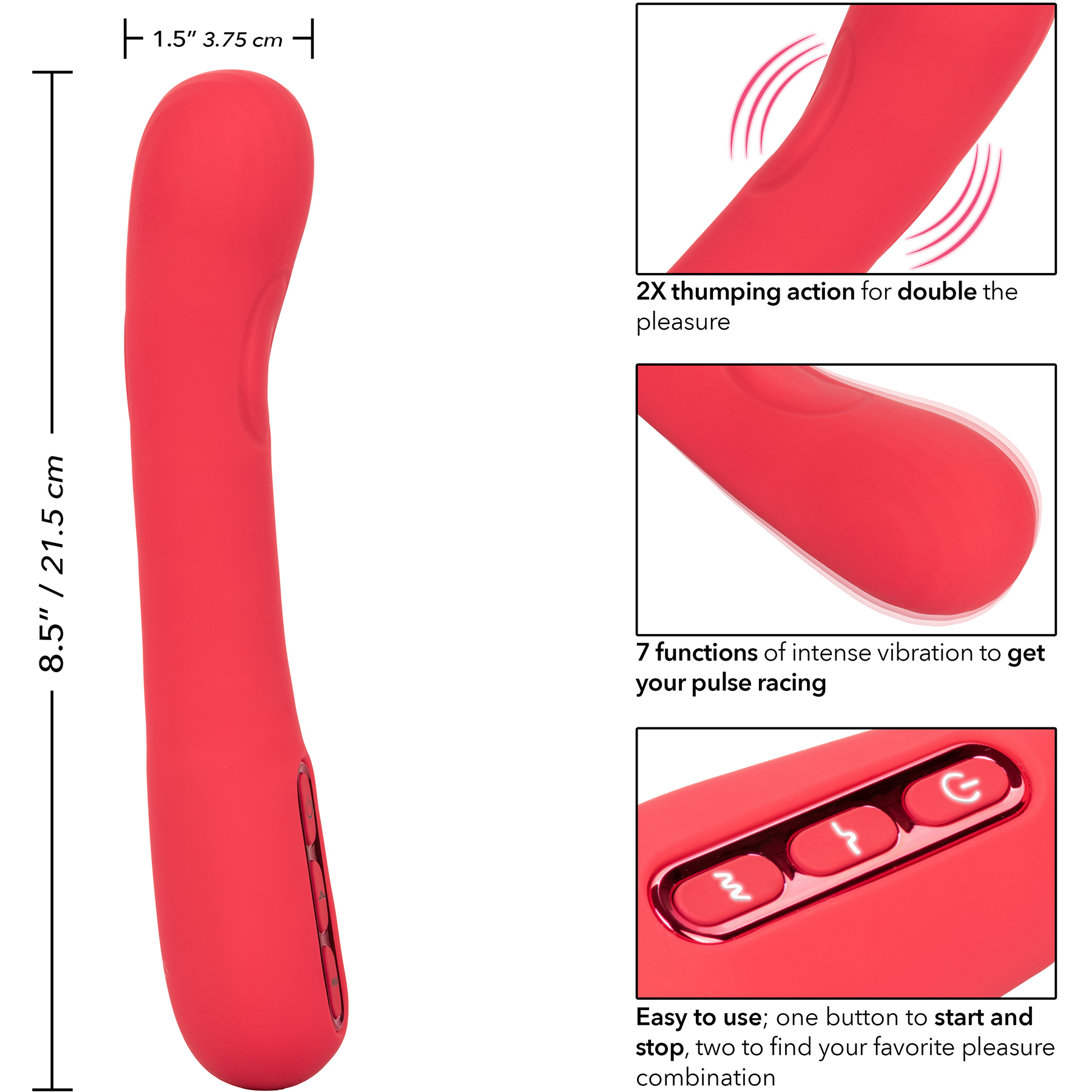Throb Thumper Rechargeable Waterproof Silicone Vibrator - Measurements