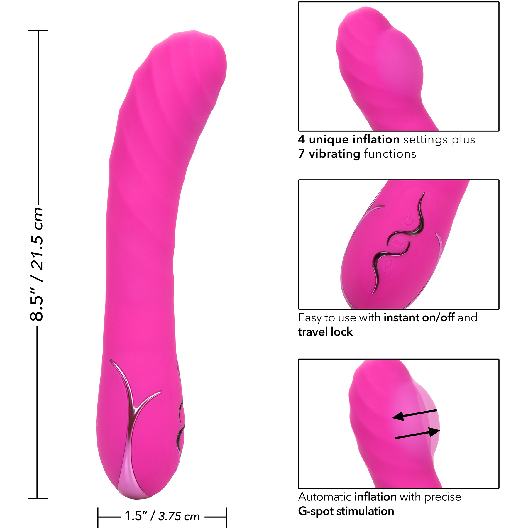 Insatiable G Inflatable G-Wand Silicone Rechargeable G-Spot Vibrator - Measurements