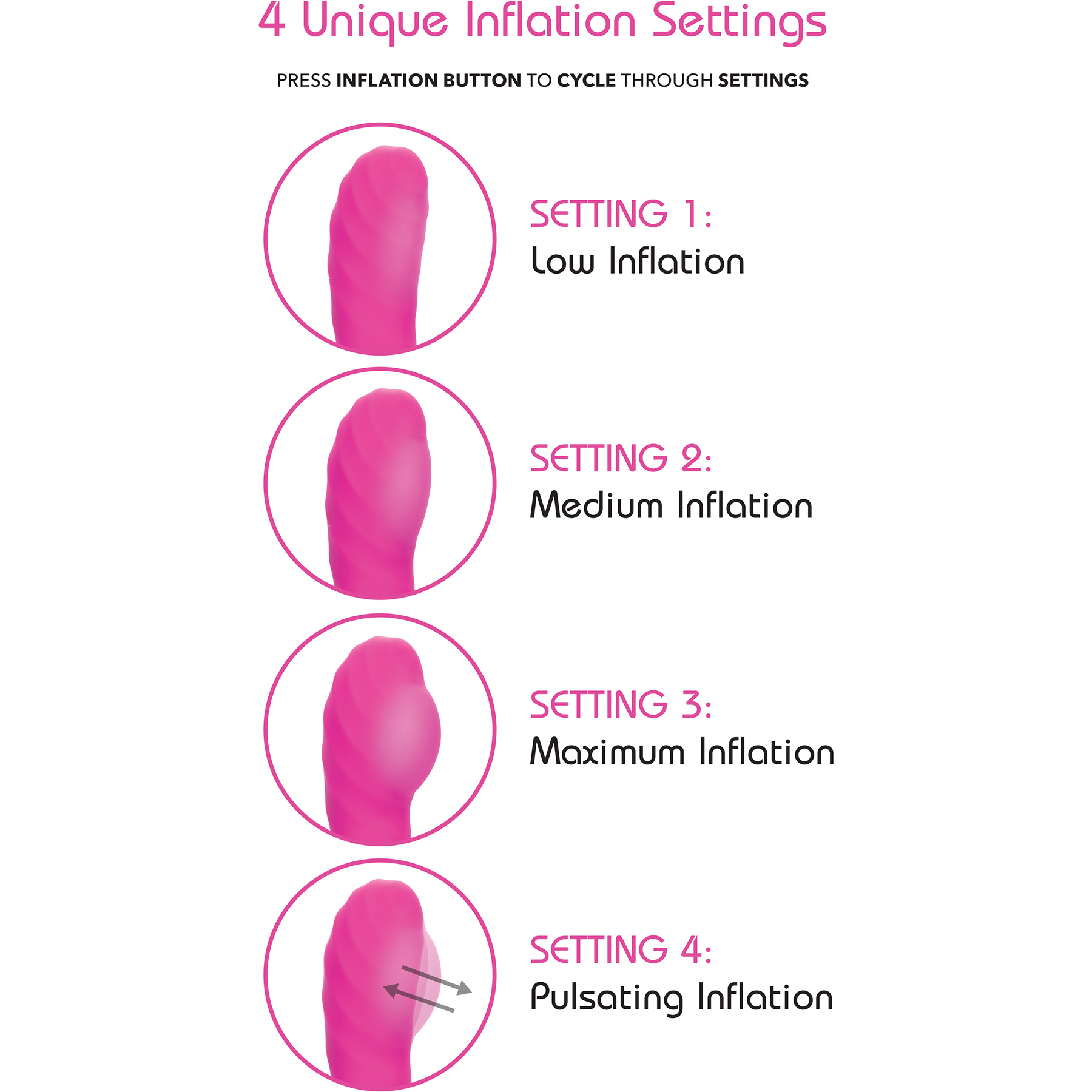 Insatiable G Inflatable G-Wand Silicone Rechargeable G-Spot Vibrator - Inflation Settings Graphic