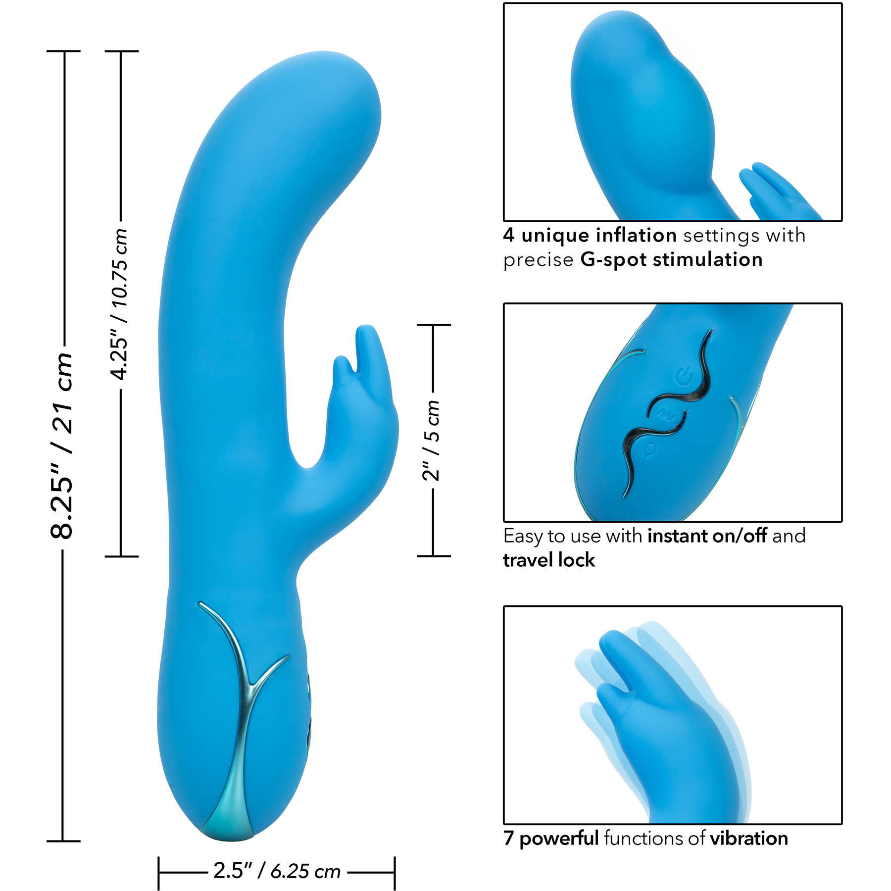 Insatiable G Inflatable G-Bunny Rabbit Style Silicone Vibrator - Measurements