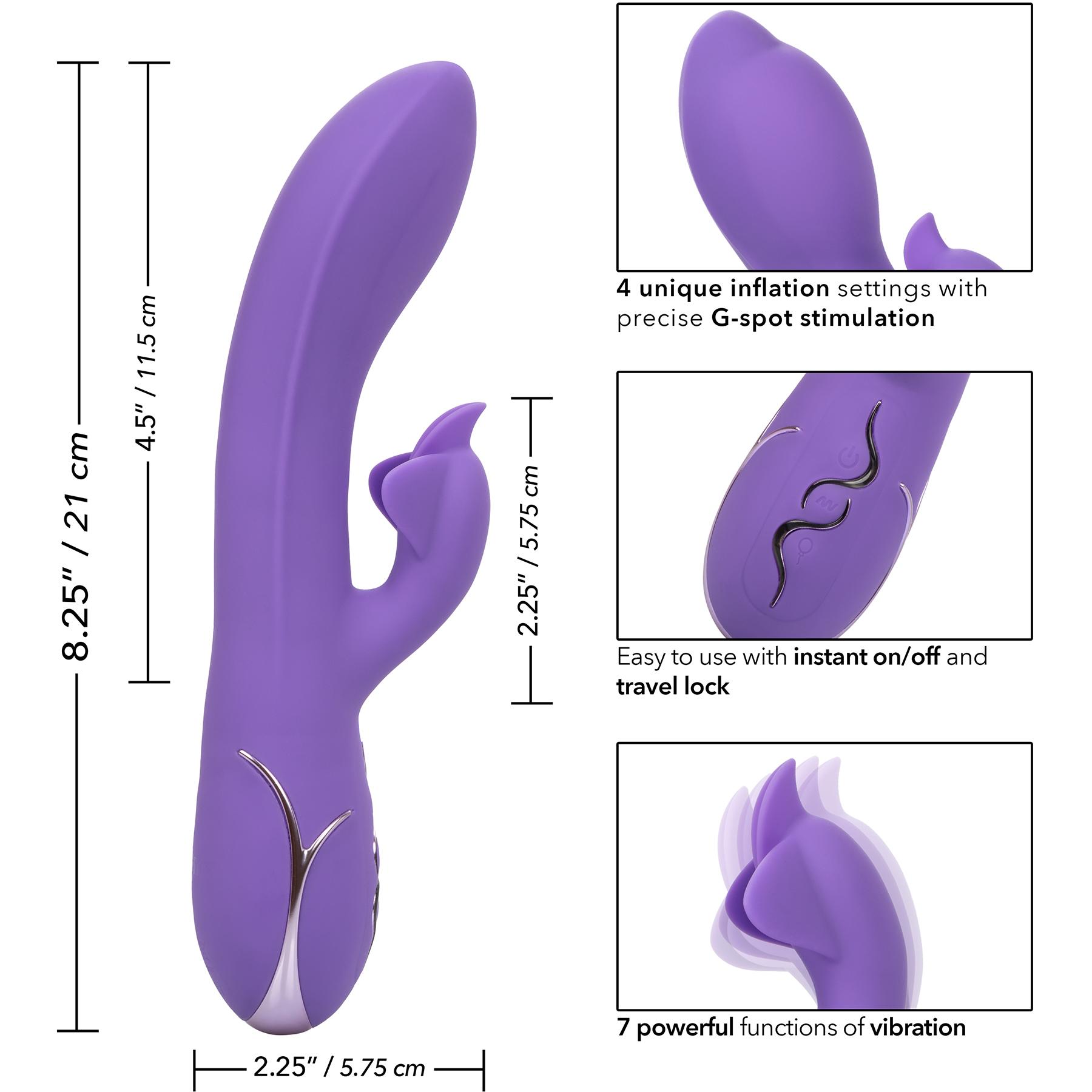 Insatiable G Inflatable G-Flutter Rabbit Style Silicone Vibrator - Measurements