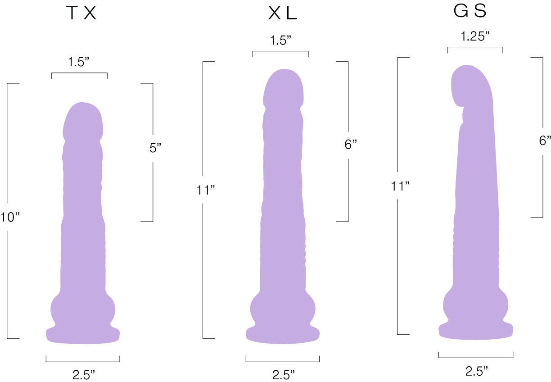 The Velvet Thruster Mini Teddy Ultra Powerful Thrusting Silicone Dildo - Measurements