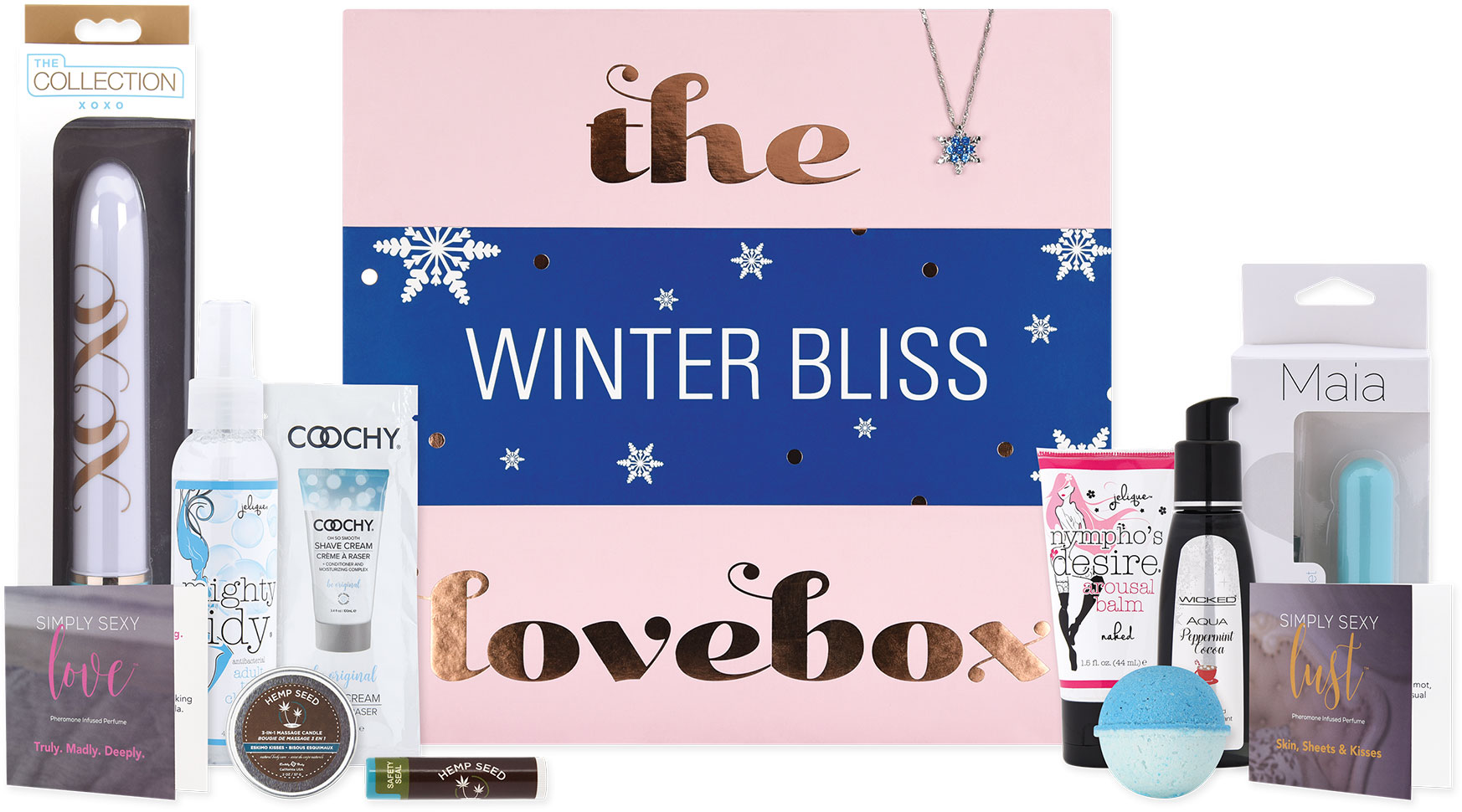 Lovebox Curated Collection Of Pleasure Products - Winter Bliss - Contents