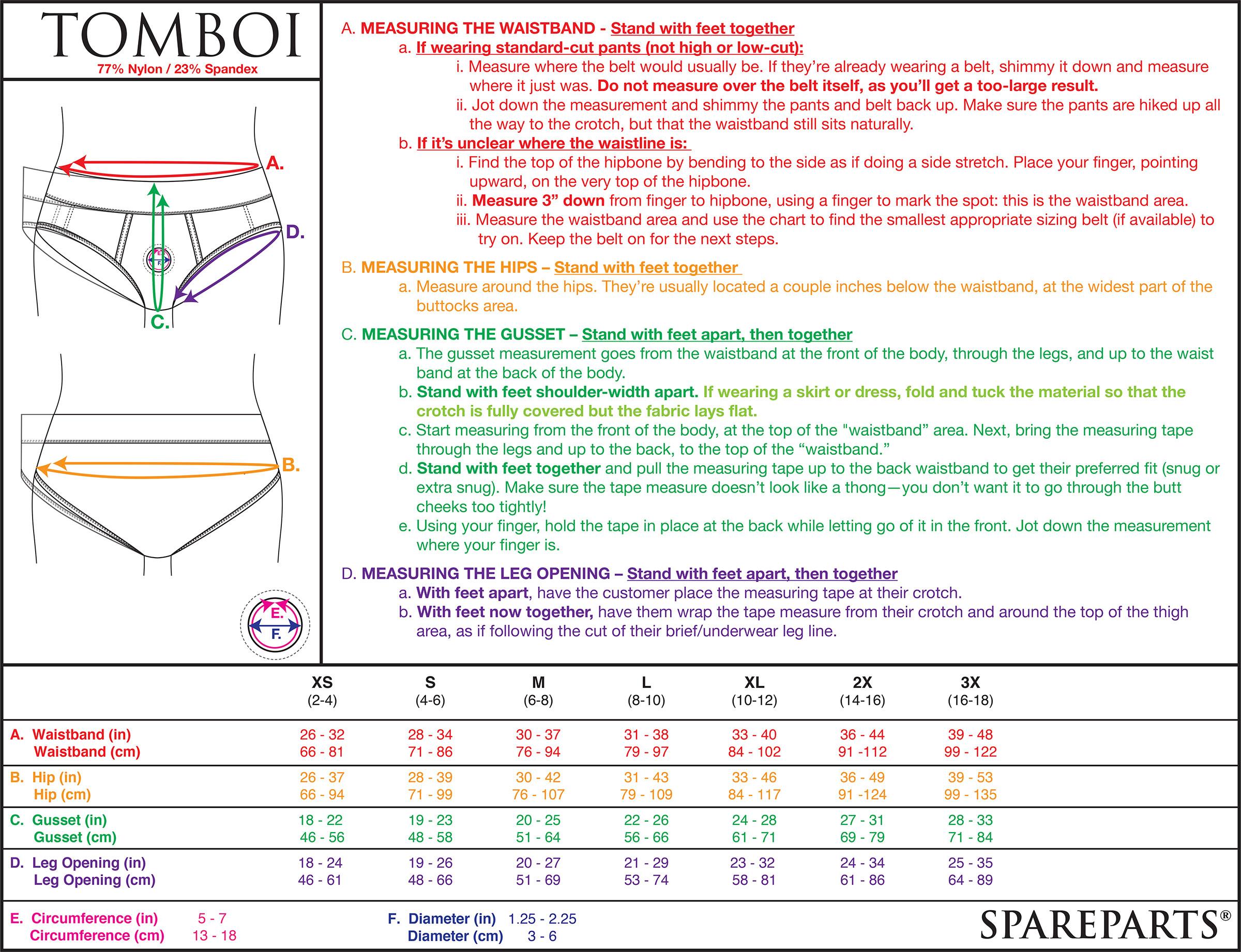 Tomboi Harness Size Chart