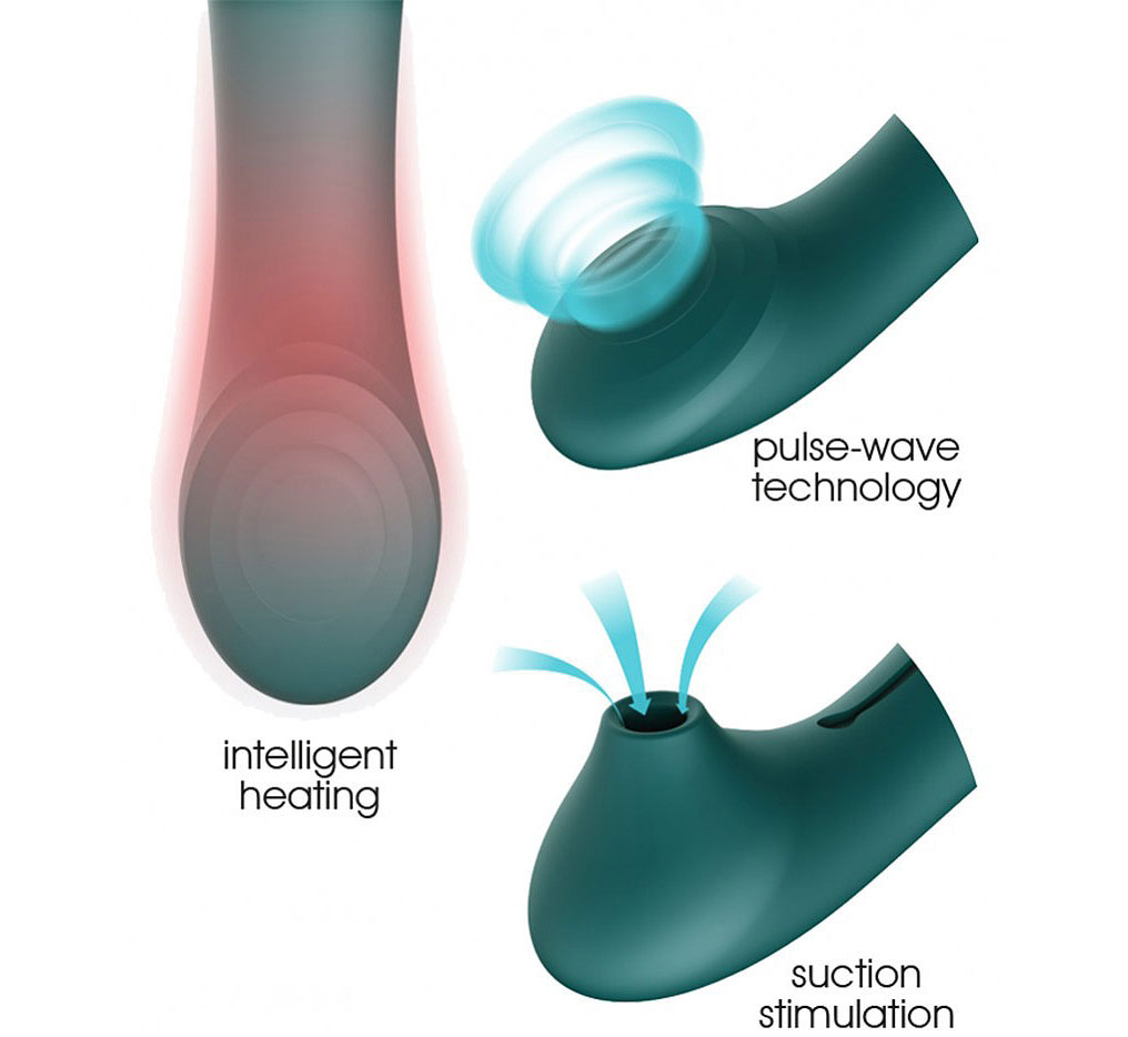 ZALO Queen Set Silicone Rechargeable G-Spot PulseWave Vibrator With Suction Sleeve - Features