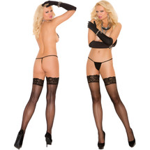 Elegant Moments Sheer Thigh-High With Lace Top And Back Seam