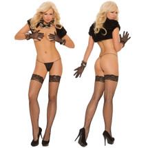 Elegant Moments Fence Net Thigh-High With Lace Top