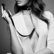 Bijoux Indiscrets MAZE WIDE CHOKER WITH LEASH BLACK