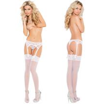 Elegant Moments White Lace Garter Belt & Matching Thong