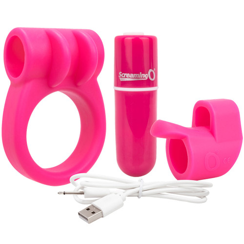 Charged CombO Kit #1 Silicone Cock Ring & Fingertip Sleeve By Screaming O - Pink