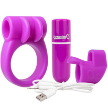 Charged CombO Kit #1 Silicone Cock Ring & Fingertip Sleeve By Screaming O - Purple