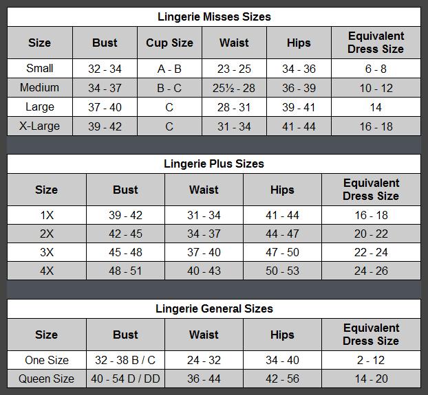 Dildo size chart