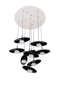 Black fiber glass contemporary LED 9 light pendant