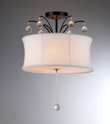 5-Light Semi flush White Shade Bronze Crystal Chandelier