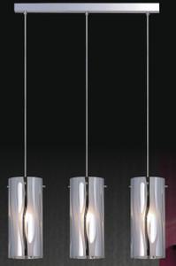 Patterned metal coated glass•3-light pendant