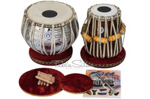 MAHARAJA MUSICALS 3.5Kg Designer Tabla Set, Brass Bayan, Sheesham Dayan BHA