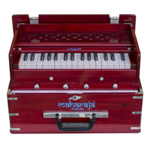 MAHARAJA Harmonium, Kirtan Harmonium, Portable In-Flight Edition, 9 Stop, Rosewood Color, A440, 32 Keys, Coupler, Model KH3