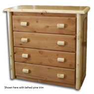 GT4005 Rustic 4 Drawer Chest of Drawers with Lathed Pine Trim