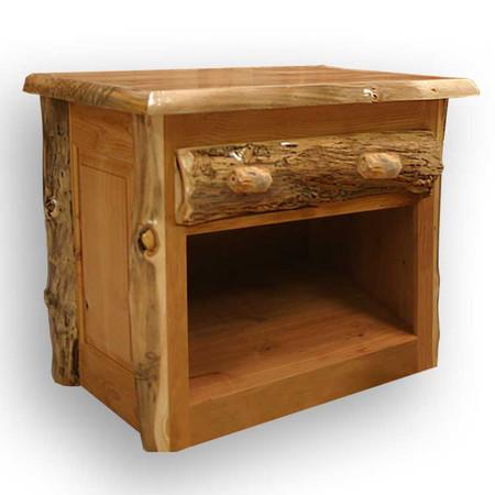 3102 Rustic Single Drawer Lumber End Table/Nightstand