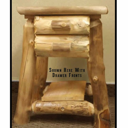 3202 Rustic Double Drawer Log End Table/Nightstand