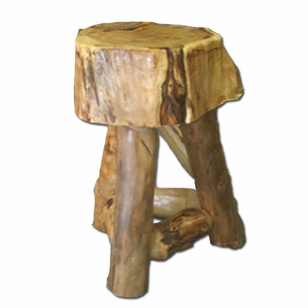 3203A Rustic Suncracked Tripod End Table with Aspen Supports