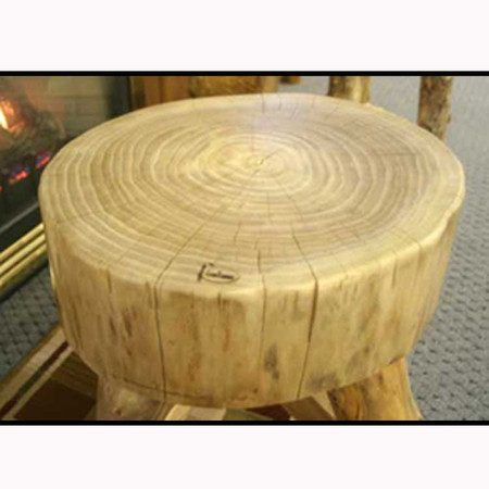 3203L Rustic Suncracked Tripod End table with Lumber Supports