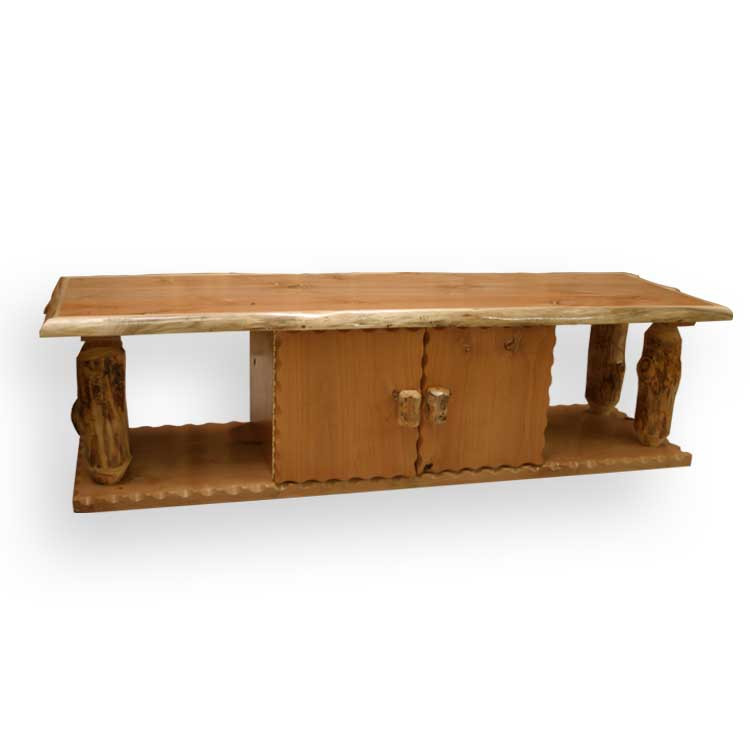 3213 Rustic Log Coffee Table With Cabinet