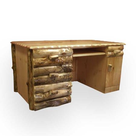 4109 Rustic Log Executive Desk
