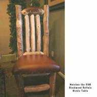 5107 Buffalo Nickel Log Dining Chair with Leather Cushion