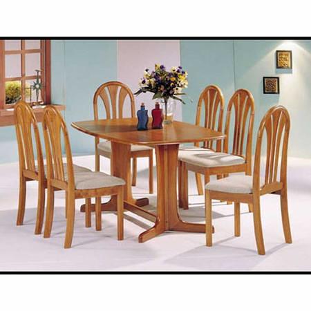 A02190 Oak Finish Double Pedestal Solid Wood Table Set