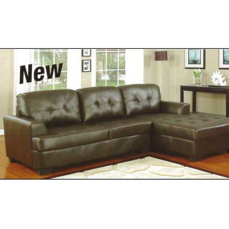 A15918 Espresso Leather Sectional Sofa