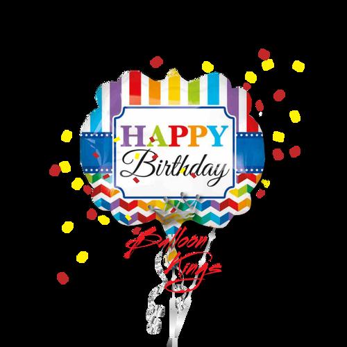 Large Happy Birthday Stripe And Chevron
