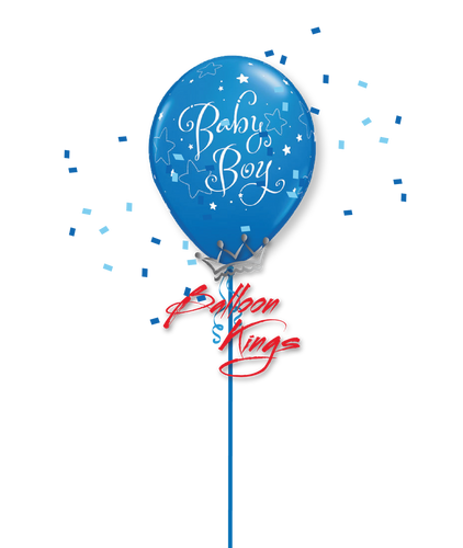 11in Latex Baby Boy Stars - Dark Blue